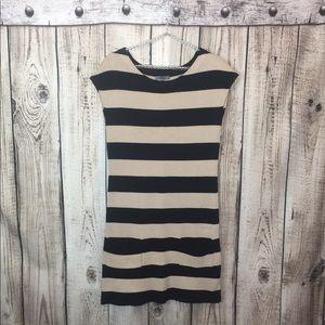 Premise Tan Block Sweater Dress Pockets Small